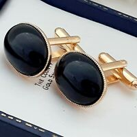 Vintage 1970s Black Glass Cabochon - Oval Gold Plated Cufflinks