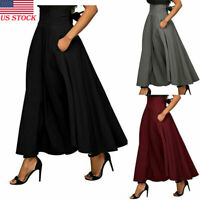 US High Waist Pleated Long Skirts Women Flared Full Maxi Skirt Swing Dress New