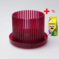Orchideentopf Orchitop M Set + Untersetzer + Seramis-Substrat, Farbe:weinrot