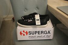 NEW Superga BLACK Leather Slim Sole Sneakers Women's Size 8.5 w Box