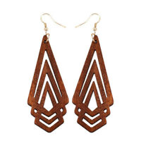 Geometric Hand-Woven Natural Rattan Straw Wooden Pendant Hoop Earrings New SF