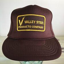 VALLEY STEEL PRODUCTS - Vtg 80s Brown St Louis SnapBack Worker Workwear Hat Cap