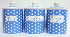 Light Blue Dots Tea Coffee Sugar Canisters Bone China Storage Jars Set Decor UK
