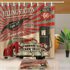 Route 66 Decor Filling Station For Car Bathroom Fabric Shower Curtain Set  71Inch