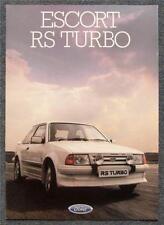 FORD ESCORT RS TURBO Car Sales Brochure Jan 1985 #FA 689