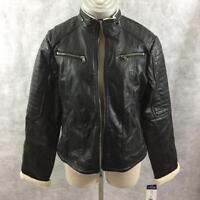 CHAPS womens coat jacket size L large black 4 zipper pockets faux fur collar NEW