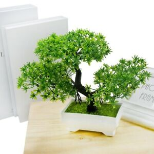 Fake Artificial Green Plant Bonsai Potted Simulation Desk Pine Tree Home Decor