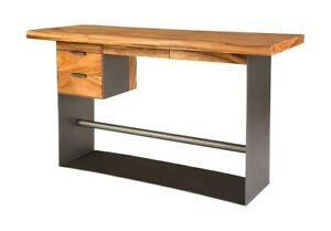 """71"""" L Standing Desk Iron Base with Solid Acacia Wood Drawers and Top Modern"""