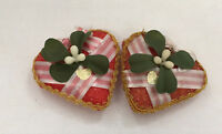 vintage shabby chic cottage  hand decorated vintage valentine glitter hearts