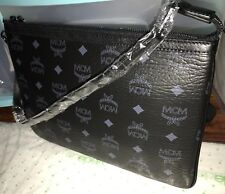 Authentic MCM Luggage Black Leather Pouch Clutch Bag Wallet NEW Rare