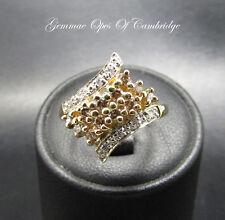 9ct Gold Multi Diamond set Cluster Ring Size K 2.9g