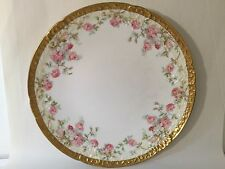 Antique Vtg Beaux Arts Limoges Gilt Hand Painted Roses Charger Plate 13""