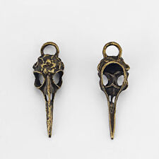5Pcs Antique Bronze Raven BIRD SKULL HALLOWEEN Charms Pendants Beads