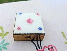 Vintage Pill Box Small White Enamel Guilloche Brass Hand Painted Floral
