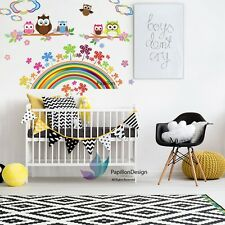 Flower Rainbow Cloud Owl Nursery Baby Girl Wall Decal Sticker Mural Wall Art