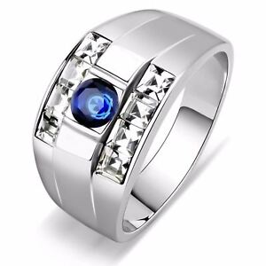 5x5mm Round Blue CZ w/ Two Row Princess Side Stones Stainless Steel Mens Ring