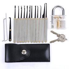 16pcs Practice Lockpick Unlocking Lock Pick Key Extractor Tool Sets + Padlock