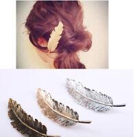 Charm Women Leaf Feather Hair Clip Hairpin Barrette Bobby Pin Hair Accessory bs