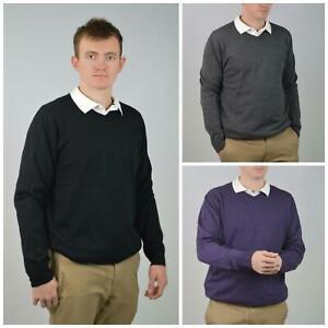 SEARS Mens Pure Merino Wool V Neck Jumper Pullover Super Quality