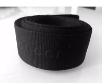 "GUCCI 36"" INCHES (1 Yard) Authentic BLACK Grosgrain Ribbon Chunky Size"