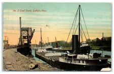 Early 1900s Great Lakes Freighters at the No. 2 Coal Deck, Lorain, OH Postcard
