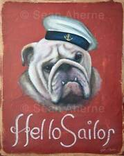 Bulldog with Sailor Hat Shabby Chic Wooden Sign Plaque Print Art for Dog Lovers