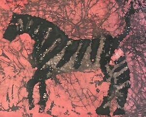 Vintage Framed Batik Striped Zebra Fiber Art Wall Hanging Modern Animal Horse