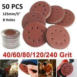 50pcs 125mm Sanding Discs 40 60 80 120 240 Grit Orbital Pads Sander K1N8