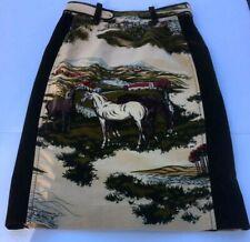 Anthropologie Cartonnier Velvet Paneled Pencil Skirt Pastoral Equestrian Sz 0