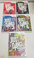 Just Dance 1 2 3 4 2014 (Nintendo Wii) 5 Game Set Lot Bundle Complete w/Manuals