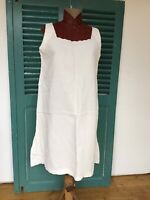 Antique Vintage French 100% Linen Chanvre Smock Shift Dress - AB Monogram M-L