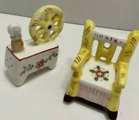 Vintage SPINNING WHEEL and ROCKING CHAIR Salt & Pepper Shaker Set Made in JAPAN