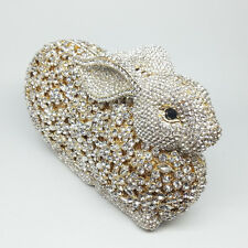 Gold Bunny Rabbit Crystal Evening Purse Clutch Bag Bridal Wedding Dinner Handbag