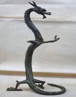 Antique Chinese Fengshui Standing Dragon Bronze Loong Success Statue Figures BIG