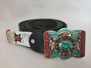 Sterling Silver Mens Belt Buckle Leather waist trap Turquoise Coral Stone B25