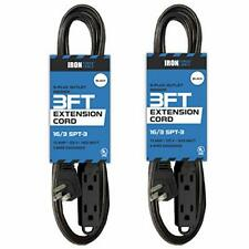 2 Pack of 15 Ft Extension Cords with 3 Electrical Power Outlets - 16/3 Durable B