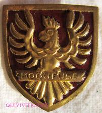 IN11266 - Insigne La MOQUEUSE, Aviso Dragueur, rouge, oiseau en relief