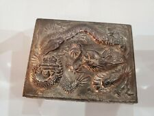 Antique Repousse Metal Dragon Cigarette Box Wood Interior - Made in Japan