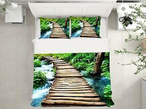 3D Wooden Bridge NAO9252 Bed Pillowcases Quilt Duvet Cover Set Queen King Fay