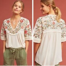 Ranna Gill Anthropologie floral embroidered ivory gauze boho blouse L NWOT $128