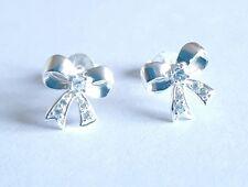 Childrens Chicas 925 Sterling Silver Cubic Zirconia Stud Pendientes-Bolsa de arco