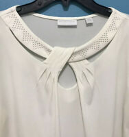 Womens New York & Company Keyhole Neck Ivory Blouse Top 3/4 Sleeve Pullover Sz M