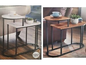 2 Tier Side Table Metal Base With Rustic Oak Tops // Marble Finish Top Options