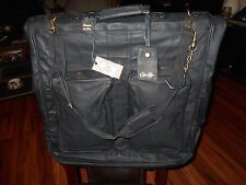 """Claire Chase Black Leather Garment Bag 44"""" X 22"""" Excellent Condition Luggage"""