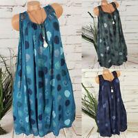Plus Size Womens Summer Lace Sundress Sleeveless Plain Beach Mini Dress Tops