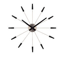 Nextime XL Horloge Murale Plug Inn Silencieux Noir Inox Ø 58 cm Montre Quartz