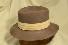 """Classic 50's Lee Panama Water Repellent Brown Straw Fedora Size 7"""""""
