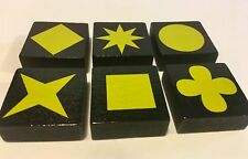 Lot of 6 YELLOW QWIRKLE Game Tiles Replacement Part Pieces Set ONE OF EACH SHAPE