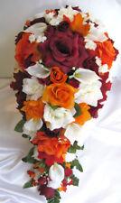 Wedding bouquet 21 piece set Bridal Silk flower Bouquets BURGUNDY ORANGE Calla