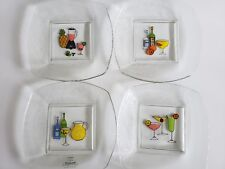 New listing Signature Appetizer Canape Plates Clear Glass Margarita By Ursula Dodge Set Of 4